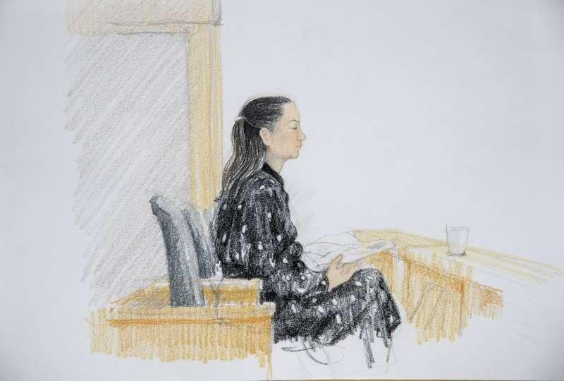 2020年1月20日,孟晚舟出庭參加首場引渡聽證會(AP)