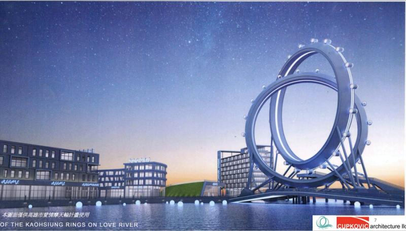 美國CUPKOVIC Architecture LLC 公司繪圖製作的「雙環無軸愛情摩天輪」,已做好資金跟規劃準備投資。(圖/ 高雄市經發局提供)