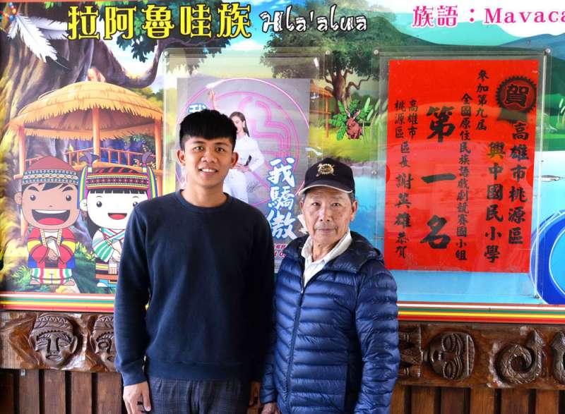 游仁貴(右)鼓勵學生多說族語,余帆(左)則說自己仍在努力適應拉語的文法結構。(楊雋珩攝)