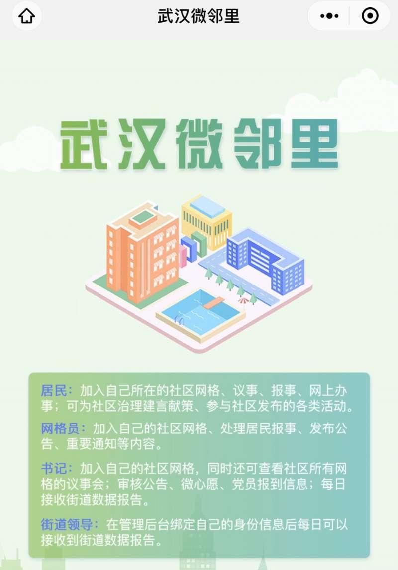 武漢透過微信的微鄰里程式,透過新科技結合民眾齊心對抗新型冠狀病毒感染。(截自微信武漢微鄰里)