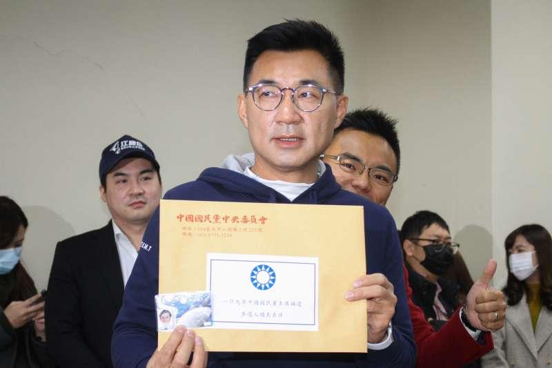 20200130-國民黨江啟臣委員前往國民黨中央黨部進行黨主席補選的領表。(蔡親傑攝)
