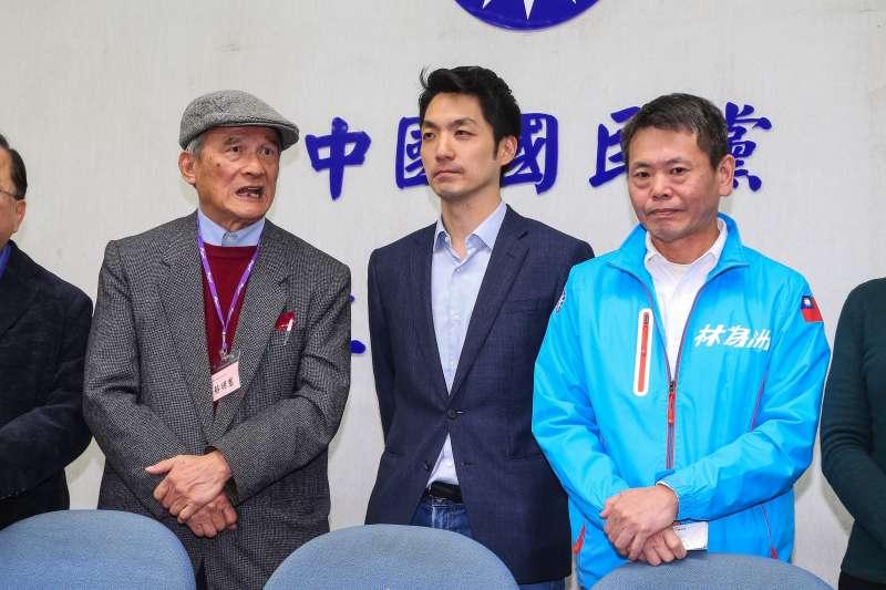 20200203-台灣聯合國協進會理事長蔡明憲(左)3日拜會國民黨總召林為洲(右)、書記長蔣萬安(中),呼籲共同通過立法院決議支持台灣加入世界衛生組織。(顏麟宇攝)