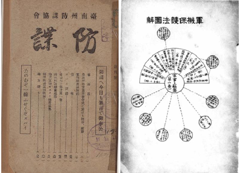 台灣台南州防諜協會的機關刊物《防諜》雜誌,昭和 14 年(1939)。右為軍機保護法圖解。