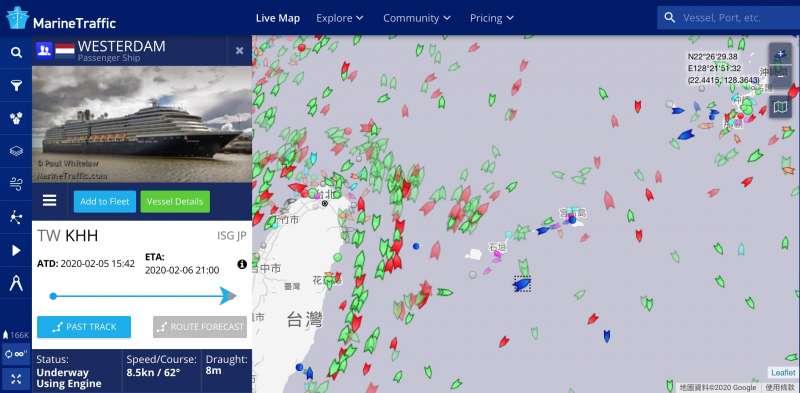根據網上公開的船舶自動識別系統(AIS)記錄,威士特丹號7日上午正在沖繩石垣島附近海域航行。(AIS資訊網站)