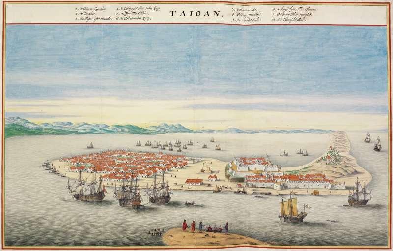 20200207-荷蘭統治台灣時期所繪製的《大員港市鳥瞰圖》,目前藏於荷蘭米德爾堡哲烏斯博物館。(維基百科)