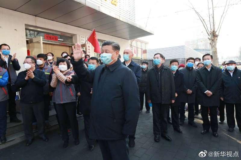 2020年2月10日,中共總書記習近平巡視北京防疫工作(取自微博)