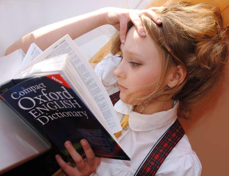 字典,書籍,女生,讀書(取自pixabay)