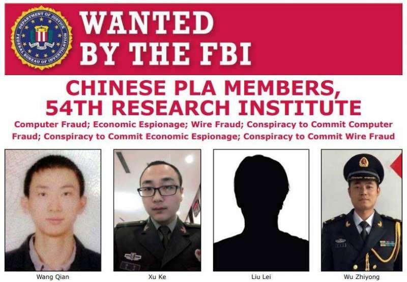 2020年2月10日,美國司法部10日宣布起訴4名中國人民解放軍軍官犯下駭客罪行(FBI Facebook)
