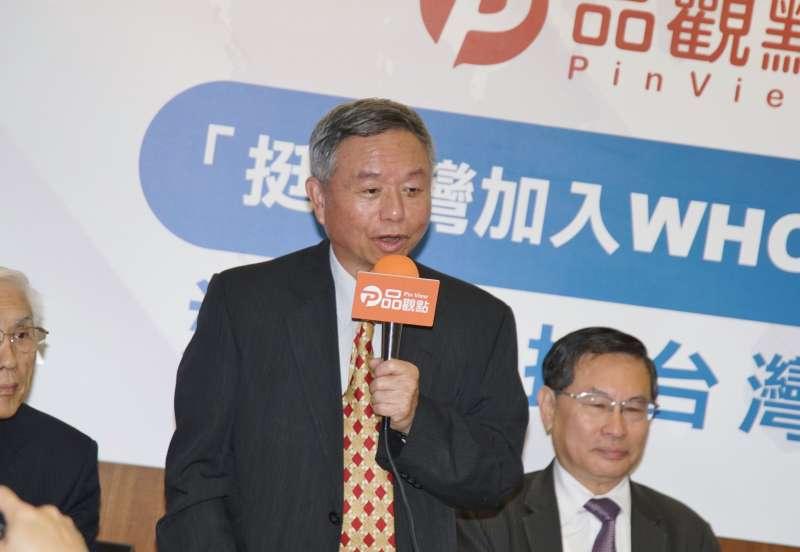 20200213-前衛生署長楊志良13日出席「台灣挺進WHO」跨黨派歷任衛生署長共同發聲呼籲500萬人民來連署記者會。(盧逸峰攝)