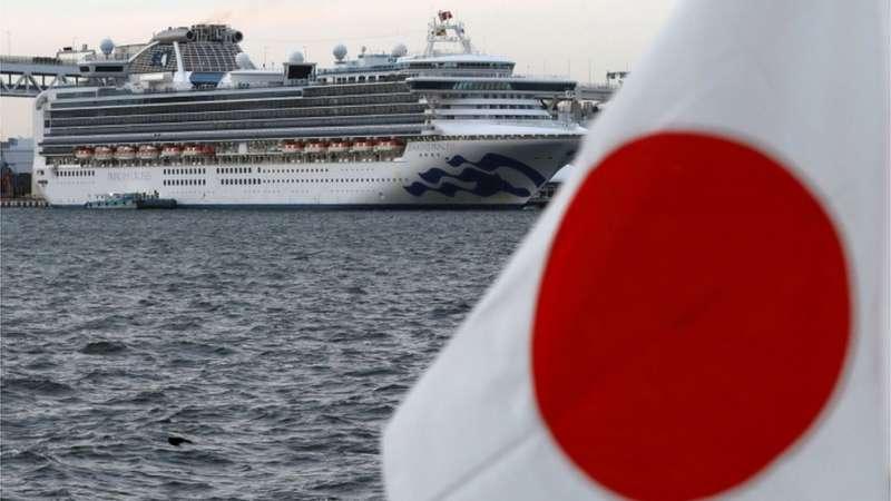 日本橫濱港外的「鑽石公主」號郵輪,目前已有超過百人感染。日本是受此次疫情傳播影響較早的國家。(圖/BBC News)
