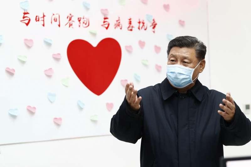 武漢肺炎。2月10日,習近平在北京朝陽區的中國疾病控制中心。(AP)