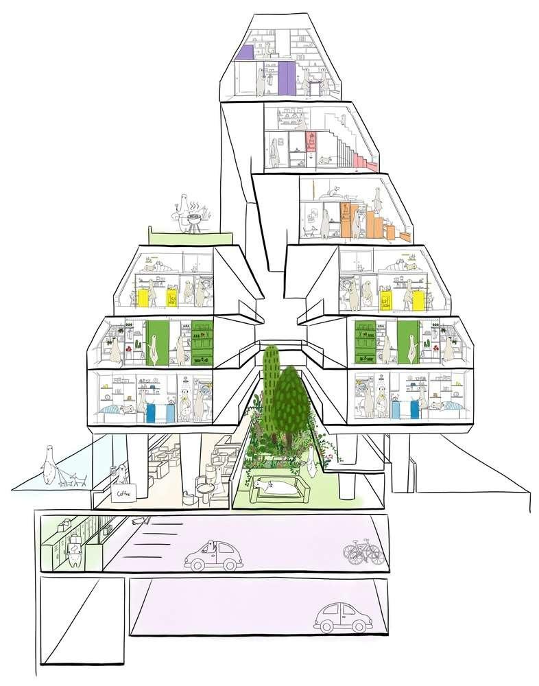 04 公寓的剖面圖。(圖/瘋設計)