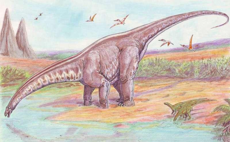 科學家逐漸釐清恐龍生態以及與史前環境的互動。圖為梁龍復原圖。(ДиБгд@Wikipedia / Public Domain)