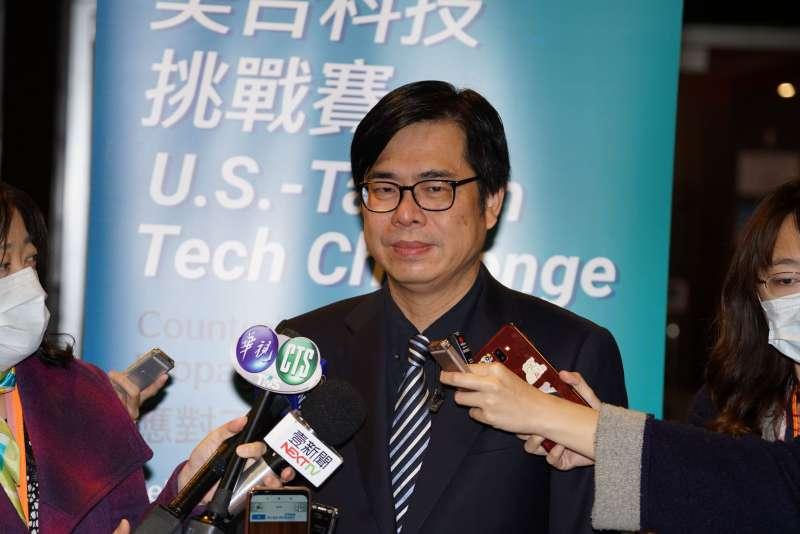 20200220-美台科技挑戰賽閉幕式,行政院副院長陳其邁接受聯訪。(盧逸峰攝)
