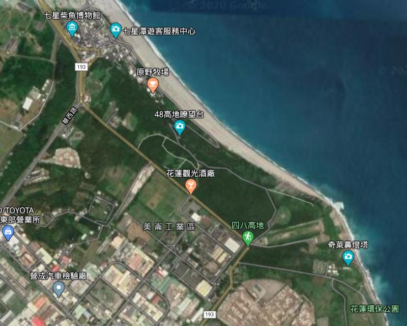 20200220-台灣菸酒近年推動「花蓮酒廠西北側土地設定地上權案」。(取自Google 地圖)