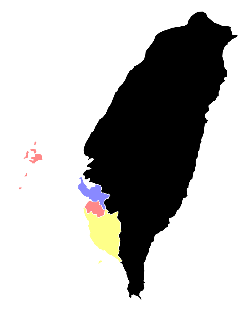 1685年台灣府完成區劃後行政區劃圖。(取自Liaon98@維基百科)