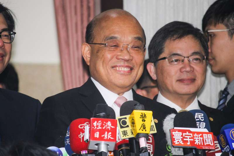 20200221-行政院長蘇貞昌赴立法院施政報告總質詢,於入場前聯訪。(蔡親傑攝)