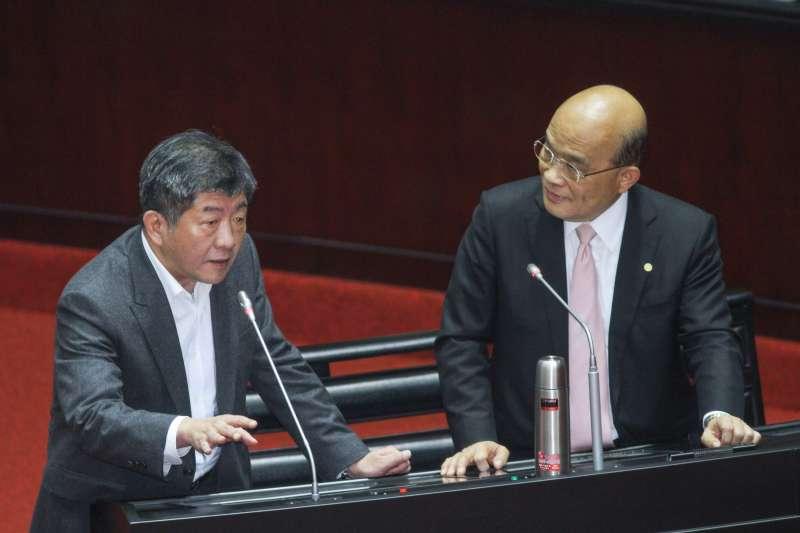 20200221-立院10屆一會期第一次會議,行政院長蘇貞昌備詢,左為衛服部長陳時中。(蔡親傑攝)