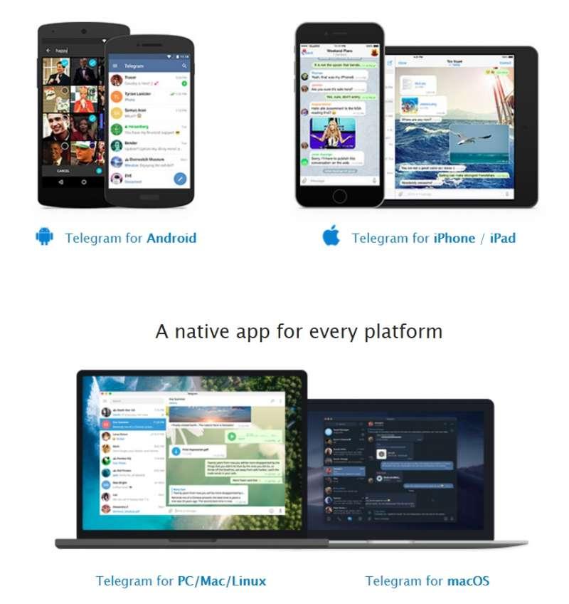 Telegram在各種裝置上都能使用。(圖/Telegram)