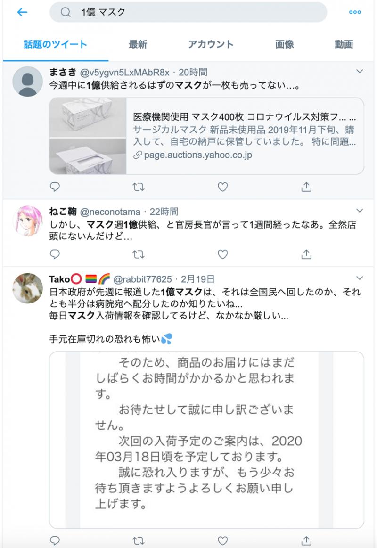 日本當局雖在12日宣布將自17日這週起,將國內口罩產量提高至每週1億片以上,但推特上仍可見許多民眾表示買不到口罩的推文。(翻攝推特)