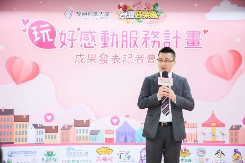 台灣觀光遊樂區協會理事長廖俊斌感性致詞,感恩多年來攜手做公益的旅遊業者好夥伴們。(圖/台灣觀光遊樂區協會提供)