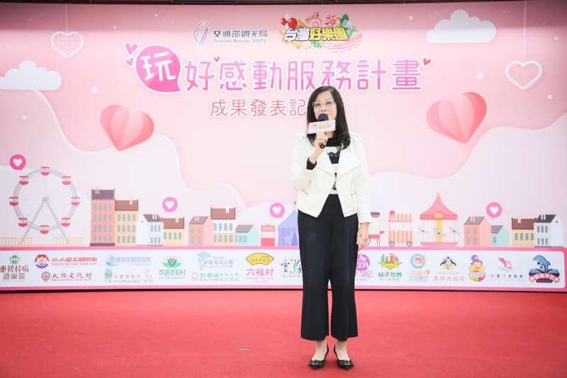 台北市議員秦慧珠到場力挺,家裡也有一個天使寶貝的她,更能體會罕病家庭一路走來的辛苦。(圖/台灣觀光遊樂區協會提供)