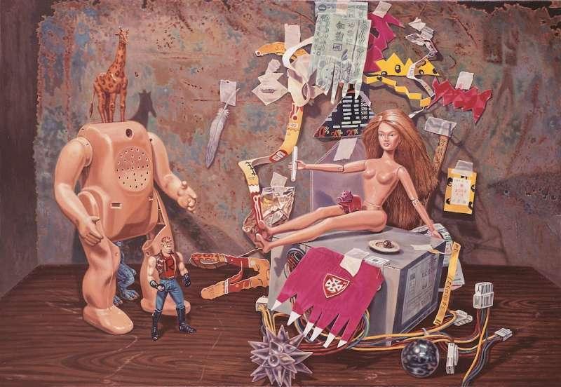連建興作品《金髮芭比的愛戀風雲》。(圖/文化部提供)