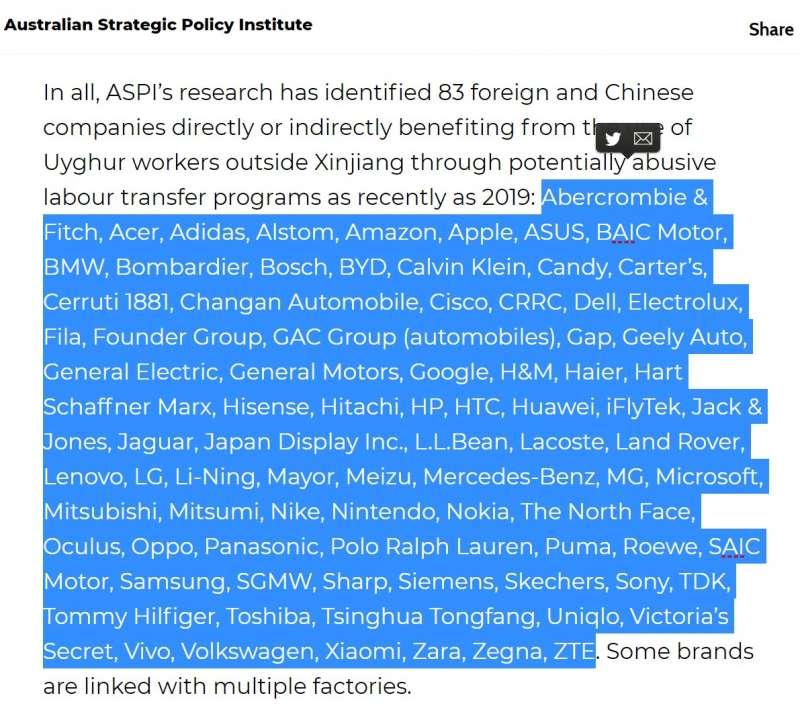 被澳洲戰略政策研究所(Australian Strategic Policy Institute,ASPI)點名使用維吾爾奴工的83家國際企業(ASPI)