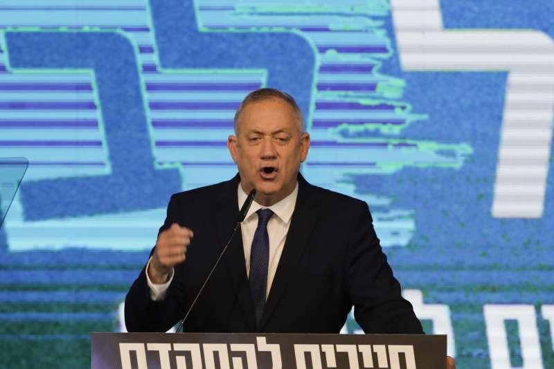 2020年3月2日,以色列國會大選,甘茨領導的中間派藍白聯盟敗選。(AP)