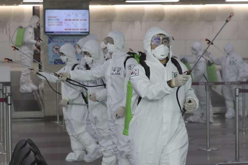 2020年3月,南韓武漢肺炎(新冠肺炎)疫情持續升高,大邱市最為嚴重(AP)