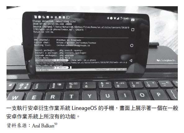 一支執行安卓衍生系統的手機。