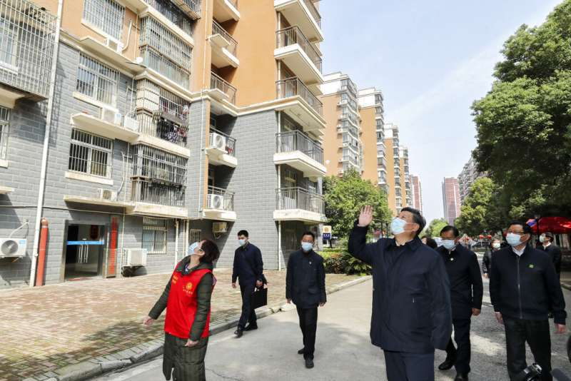 中國國家主席習近平前往武漢視察。(美聯社)
