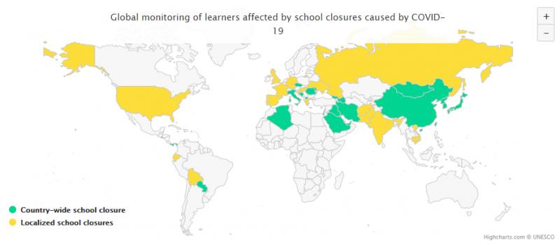 根據聯合國教科文組織(UNESCO)截至12日的統計資料,由於武漢肺炎(COVID-19、新冠病毒)肆虐,全球五大洲有多達49個國家宣布實施各級學校和大學停課。(取自聯合國教科文組織網站)