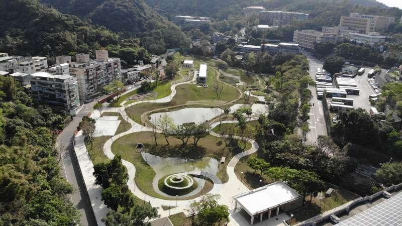 永春陂濕地公園全景。(台北市政府提供)