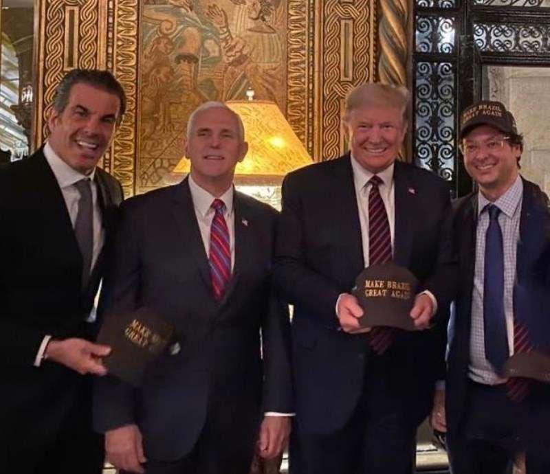 3月7日曾與美國總統川普共進晚餐的一名巴西官員(右一)12日證實確診感染武漢肺炎。(圖取自Instagram)