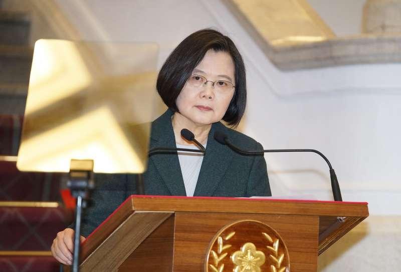 20200319-總統蔡英文19日於總統府內發表談話。(盧逸峰攝)