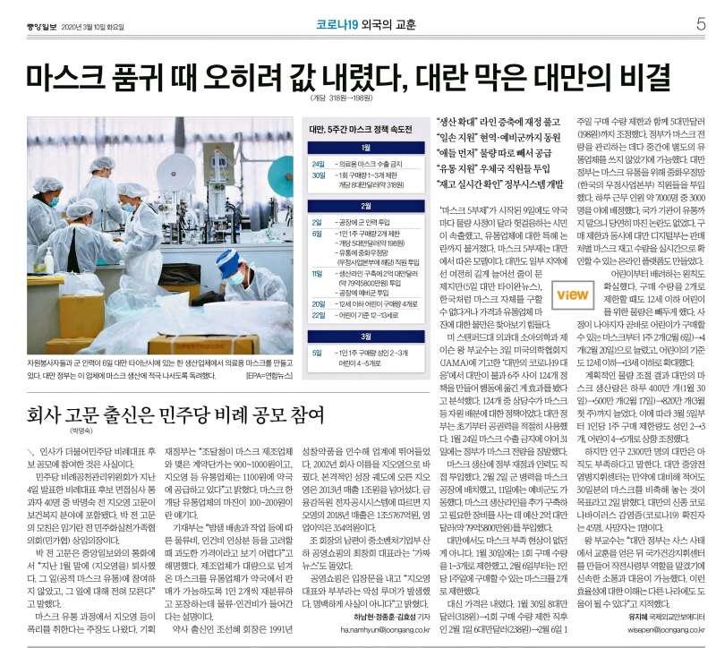 南韓《中央日報》在3月10日以全版篇幅,報導台灣處理口罩供需的問題。圖/想想論壇