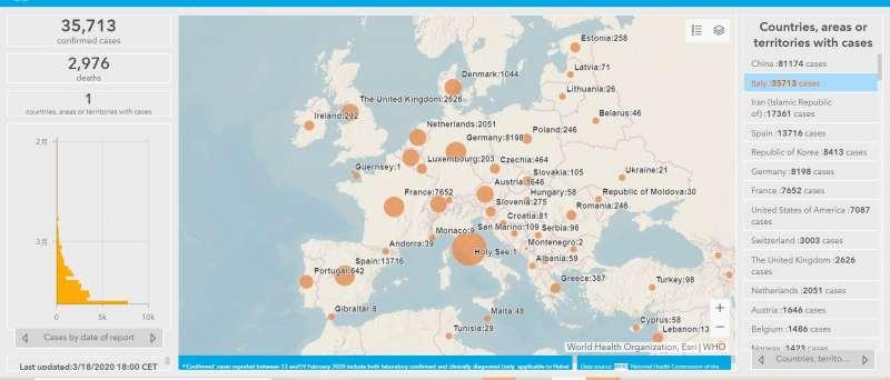 20200321-3月18日歐洲新冠肺炎疫情分布圖。(取自世界衛生組織統計網站)