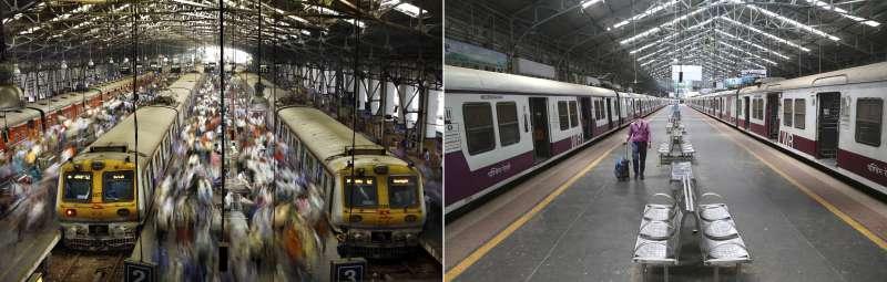 為防範新冠肺炎疫情擴散,印度25日起全國封鎖3周。圖為孟買教堂門火車站的封城前後對比圖。(AP)