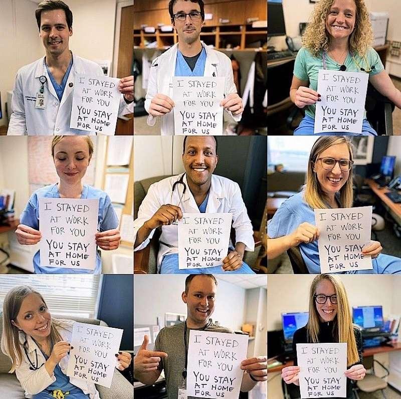 美國醫護人員在社群媒體上呼籲民眾的:「我們為你們留守工作,你們為我們留在家裡。」Source: Abbott Northwestern Internal Medicine Residency Twitter