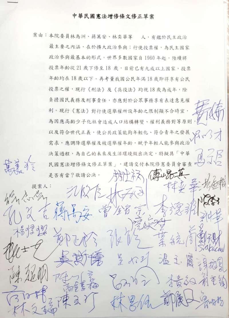 20200327-國民黨團27日完成40位黨團成員連署,將提出《憲法》修正案版本。(國民黨團提供)