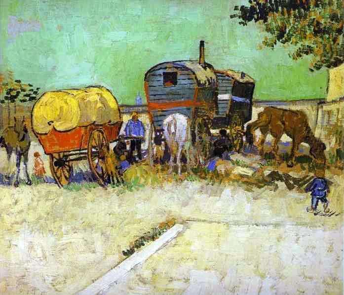 名畫家梵谷筆下的羅姆人生活。(維基百科公有領域)