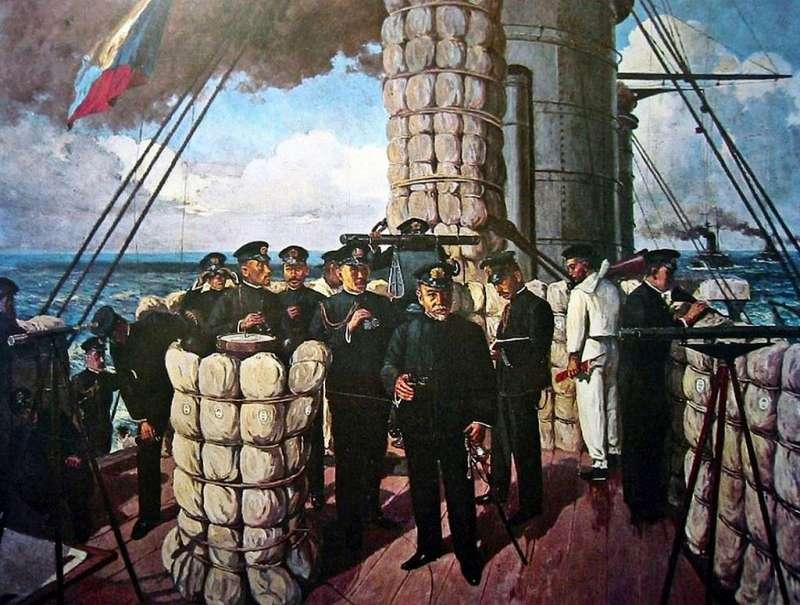 東鄉平八郎大將在旗艦三笠號艦橋上指揮對馬海峽海戰的油畫。(維基百科)