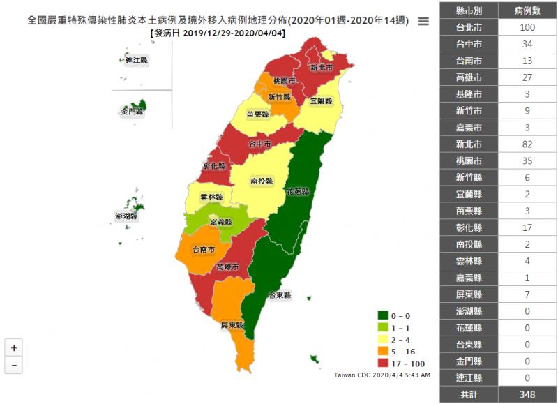 4月4日全台新冠肺炎確診病例分布圖。(取自疾管署網站)