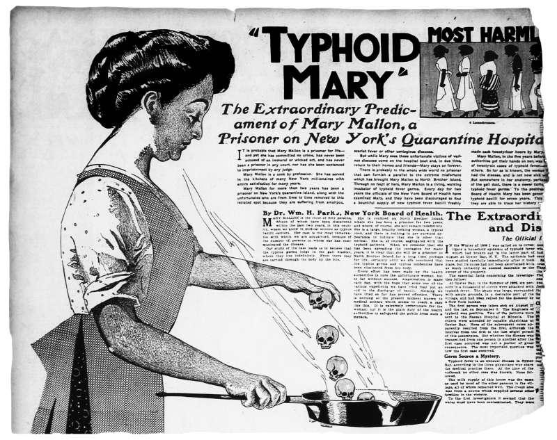 美國史上首位無症狀傷寒帶原者瑪莉・馬龍,遭媒體報導為「傷寒瑪莉」,全名都被公開、受到大眾歧視。(維基百科公有領域)