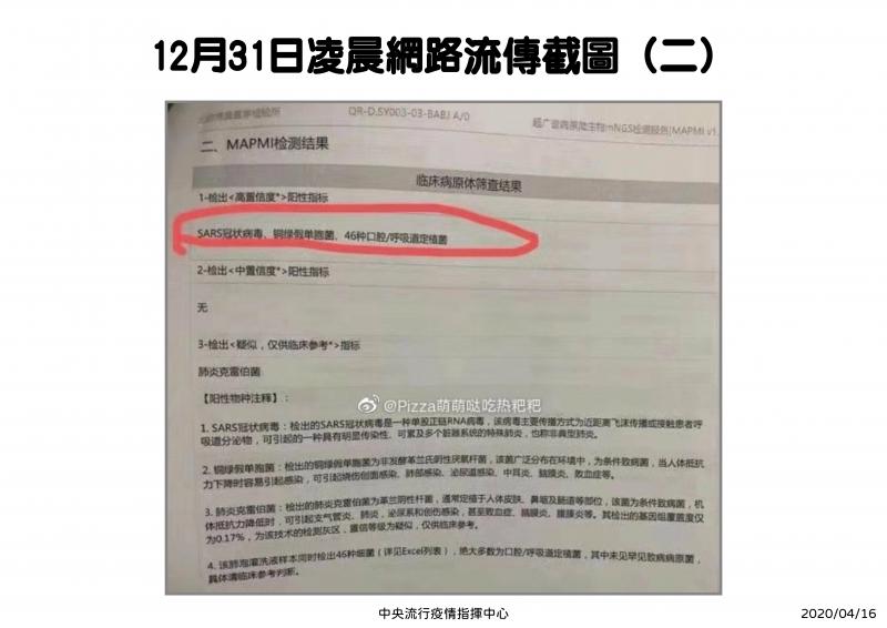 20200416-羅一鈞今(16)日出席記者會時表示,去(2019)年12月31日當晚確實注意到PTT上關於中國不明肺炎的相關資訊,認為可信度很高。圖為當時檢驗報告內容。(指揮中心提供)