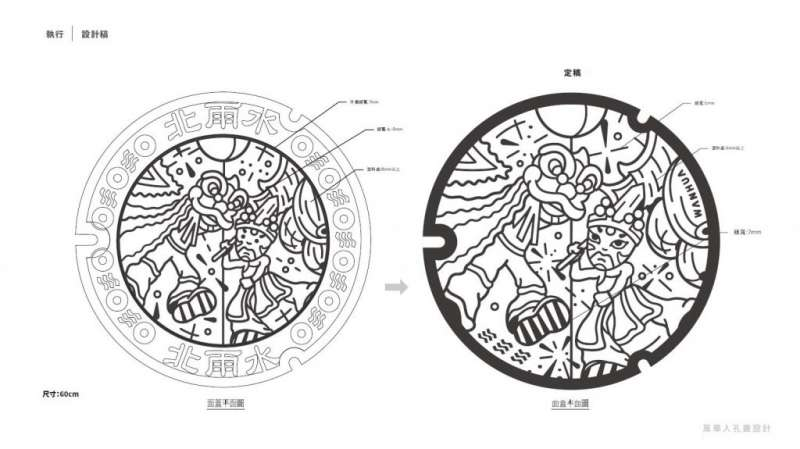 4第二款人孔蓋設計 「萬華日夜巡」以萬華宗教活動和儀式為主題。(圖/瘋設計)