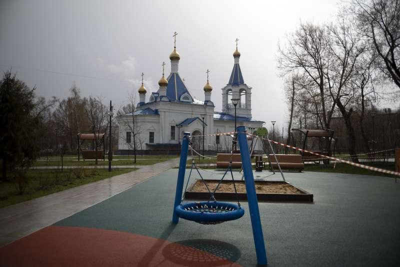 寂靜的春天,寂靜的兒童遊樂場,俄羅斯首都莫斯科(Moscow)(AP)