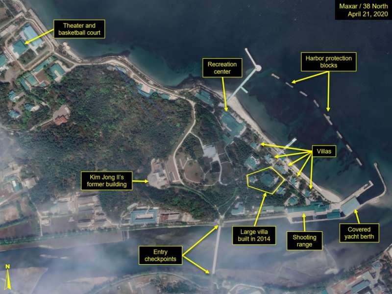 北韓觀察網站分析,金氏家族位於東部港口元山市的行宮,附近戒備森嚴,還有10棟以上的別墅與娛樂中心。(AP)