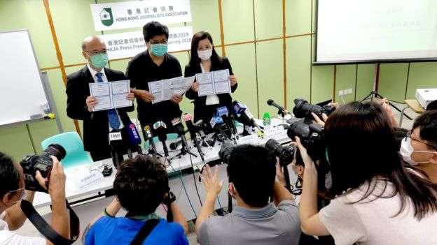 香港記協最新新聞自由指數比去年顯著下跌。(BBC中文網)
